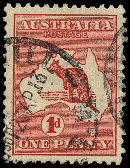 AUSTRALIA 1913  SG2da Used 1d red die II Kangaroo and Map variety watermark sideways