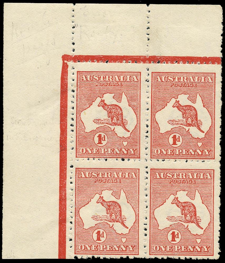 AUSTRALIA 1913  SG2 var Mint 1d red die II Kangaroo and Map variety watermark sideways