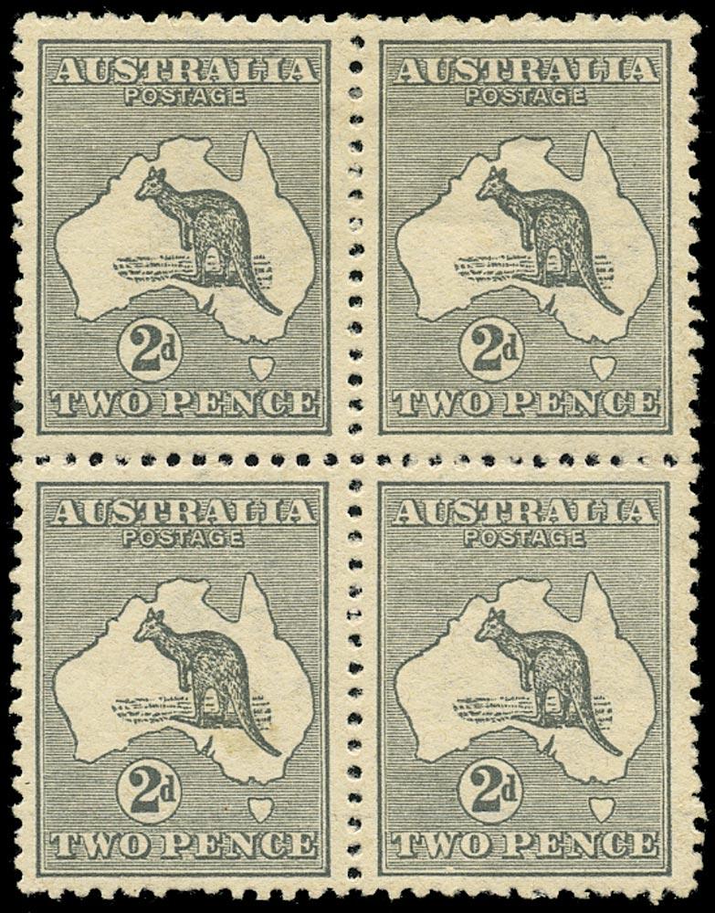 AUSTRALIA 1913  SG3w Mint 2d grey Kangaroo and Map variety watermark inverted