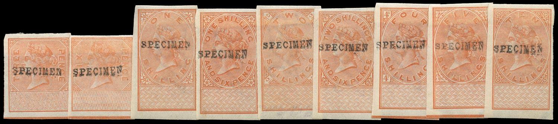 GB 1890 Revenue Transfer Duty Colour Trial Specimen set