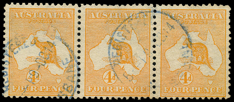 AUSTRALIA 1913  SG6 Used 4d orange Kangaroo and Map