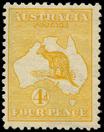AUSTRALIA 1913  SG6a Mint unmounted 4d orange-yellow Kangaroo and Map