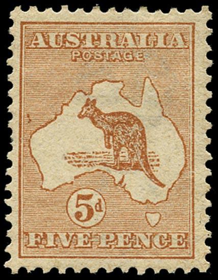 AUSTRALIA 1913  SG8 var Mint 5d chestnut Kangaroo and Map variety Islands off Western Australia