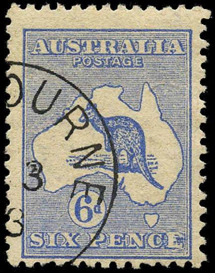AUSTRALIA 1913  SG9a Used 6d ultramarine Kangaroo and Map variety Retouched 'E'