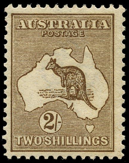 AUSTRALIA 1913  SG12 Mint 2s brown Kangaroo and Map