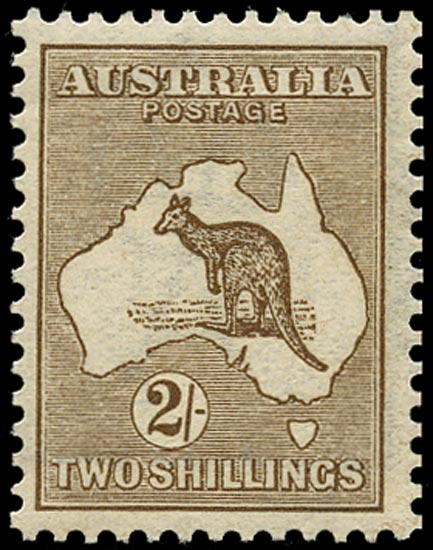AUSTRALIA 1913  SG12 Mint unmounted 2s brown Kangaroo and Map