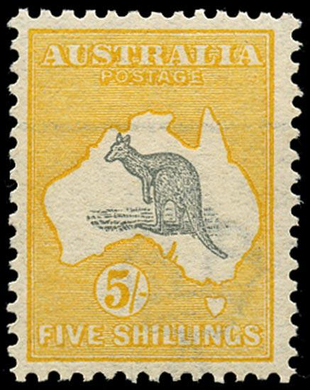 AUSTRALIA 1913  SG13 Mint unmounted 5s grey and yellow Kangaroo and Map