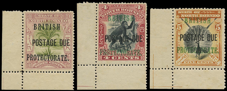 NORTH BORNEO 1902  SGD39a, 40b, 41 Postage Due