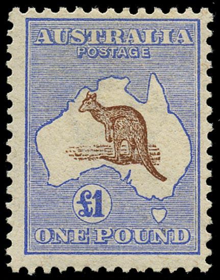 AUSTRALIA 1913  SG15 Mint £1 brown and ultramarine Kangaroo and Map