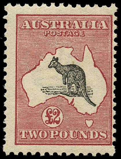 AUSTRALIA 1913  SG16 Mint £2 black and rose Kangaroo and Map