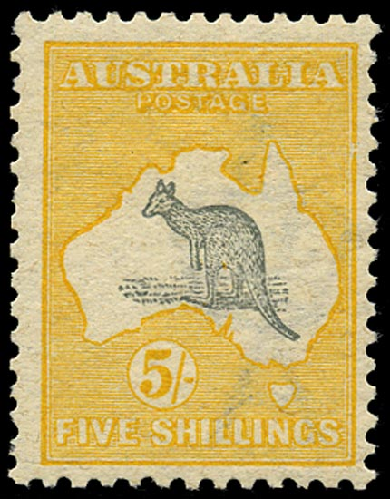 AUSTRALIA 1913  SG13 var Mint 5s grey and yellow Kangaroo and Map variety Break in right frame opposite Cape York