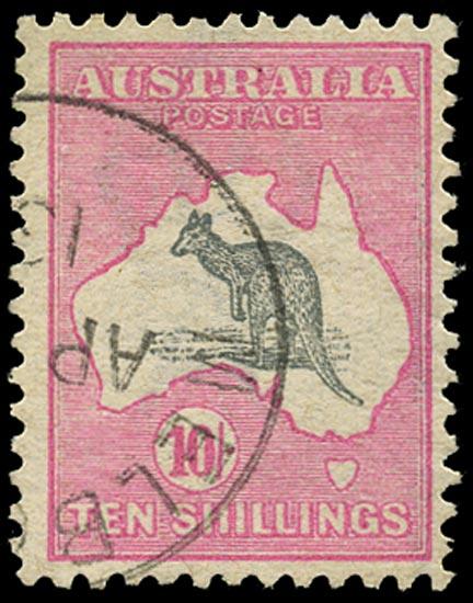 AUSTRALIA 1913  SG14 Used 10s grey and pink Kangaroo and Map