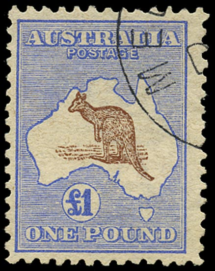 AUSTRALIA 1913  SG15 Used £1 brown and ultramarine Kangaroo and Map