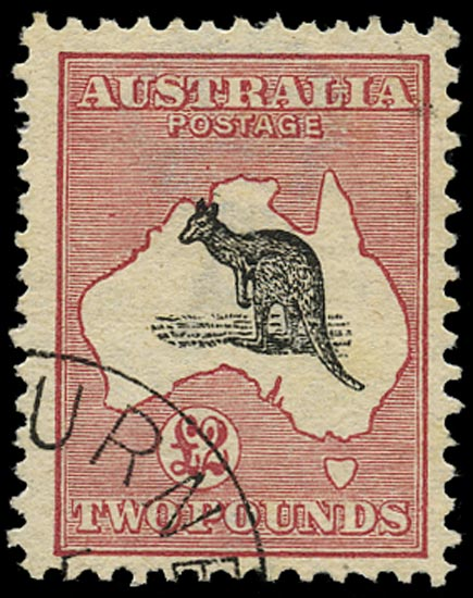 AUSTRALIA 1913  SG16 Used £2 black and rose Kangaroo and Map