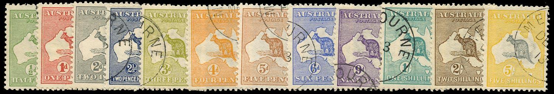 AUSTRALIA 1913  SG1/13 Used short set of 12 to 5s Kangaroo and Map