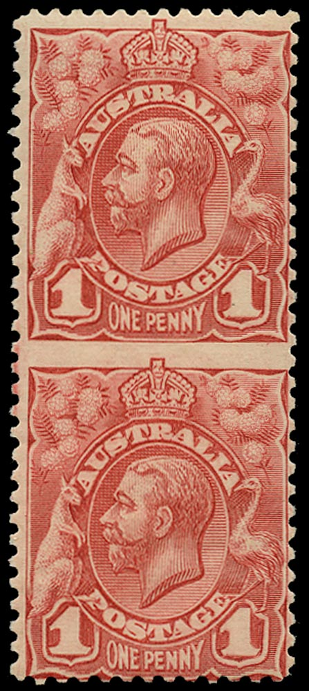 AUSTRALIA 1913  SG17b Mint KGV 1d red recess printing vertical pair error imperforate between