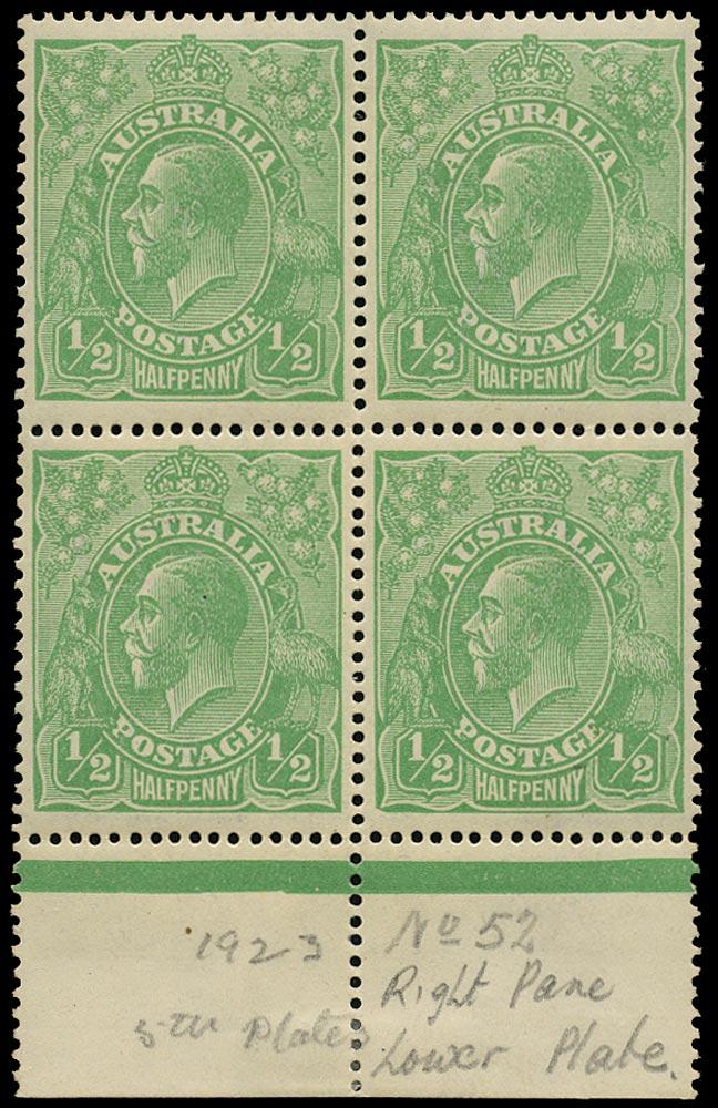 AUSTRALIA 1914  SG20 var Mint KGV ½d green wmk 5 electro 7 variety White flaw above LIA
