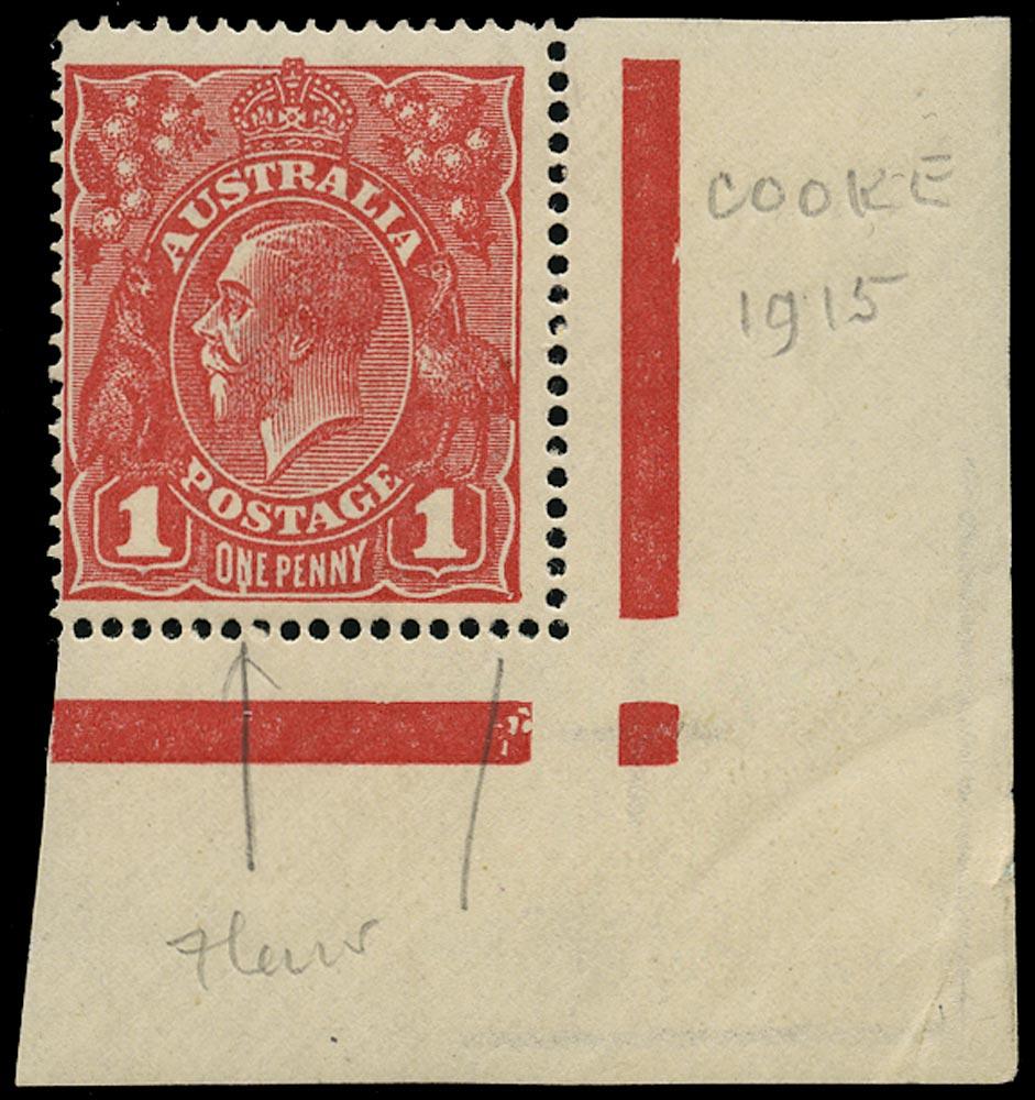 AUSTRALIA 1914  SG21cd var Mint KGV 1d rose-red wmk 5 variety Run N of ONE
