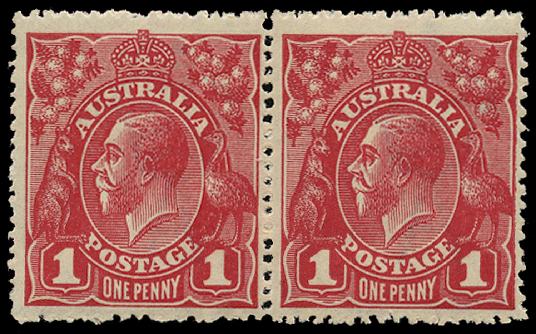 AUSTRALIA 1914  SG21cj Mint unmounted KGV 1d carmine-red wmk 5 variety RA joined