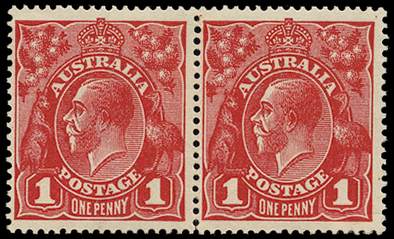 AUSTRALIA 1914  SG21/d Mint KGV 1d carmine-red wmk 5 die II + die I se-tenant