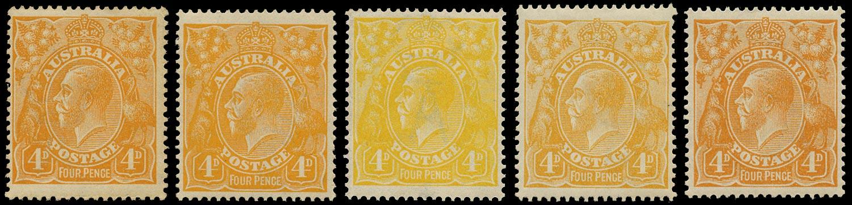 AUSTRALIA 1914  SG22/d Mint KGV 4d x5 shades wmk 5