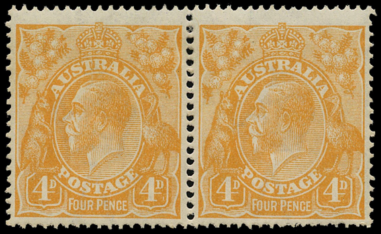 AUSTRALIA 1914  SG22d var Mint KGV 4d dull orange wmk 5 variety White scratch from crown to head