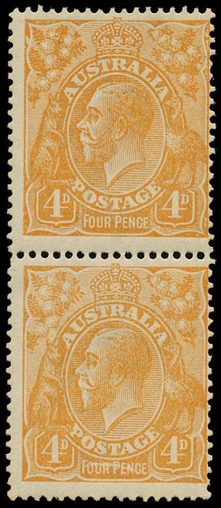 AUSTRALIA 1914  SG22de Mint KGV 4d dull orange wmk 5 variety Line through FOUR PENCE