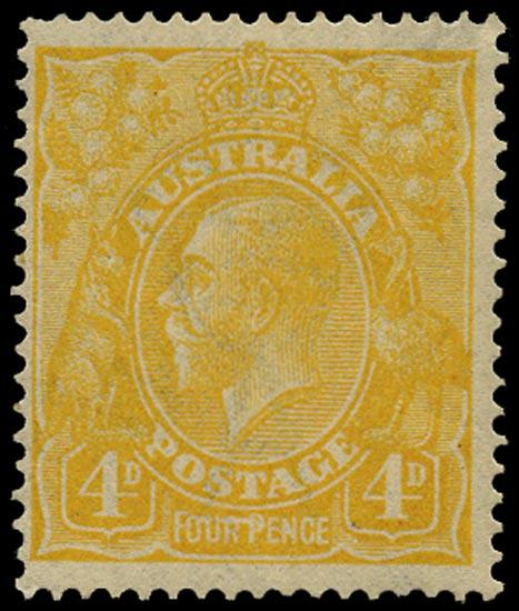 AUSTRALIA 1914  SG22be Mint KGV 4d lemon-yellow wmk 5 variety Line through FOUR PENCE