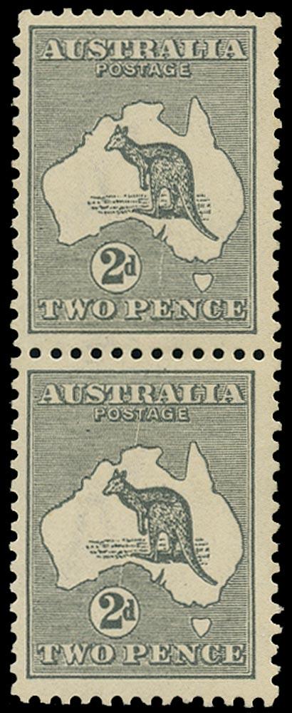 AUSTRALIA 1915  SG24 var Mint 2d grey Kangaroo and Map variety Scratch through map