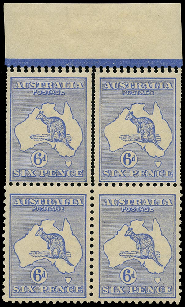 AUSTRALIA 1915  SG26 var Mint 6d ultramarine Kangaroo and Map variety double perforations