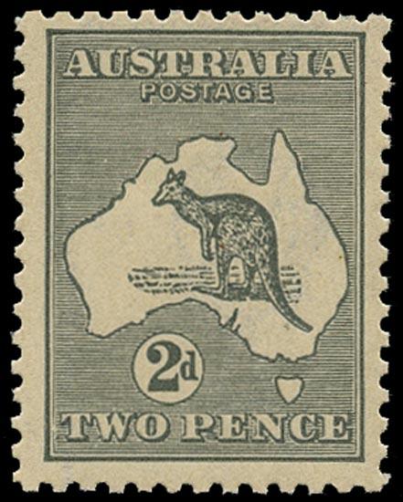 AUSTRALIA 1915  SG35dba Mint unmounted 2d grey Kangaroo and Map die IIA wmk 6