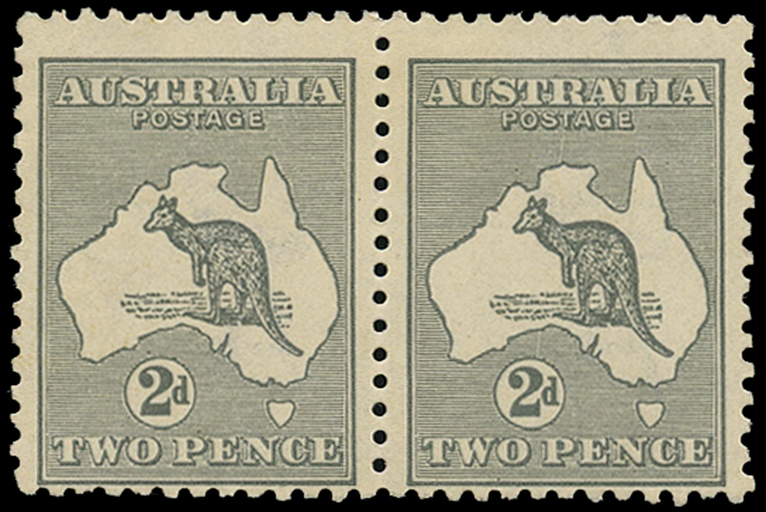 AUSTRALIA 1915  SG35 var Mint 2d grey Kangaroo and Map die I wmk 6 variety Scratch from value circle through map to T of POSTAGE