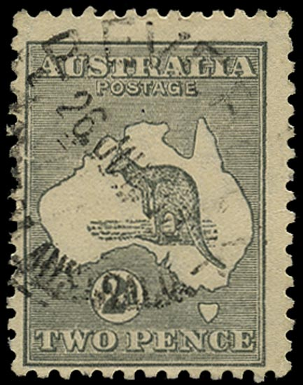 AUSTRALIA 1915  SG35a Used 2d grey Kangaroo and Map wmk 6 die IIA substituted cliche