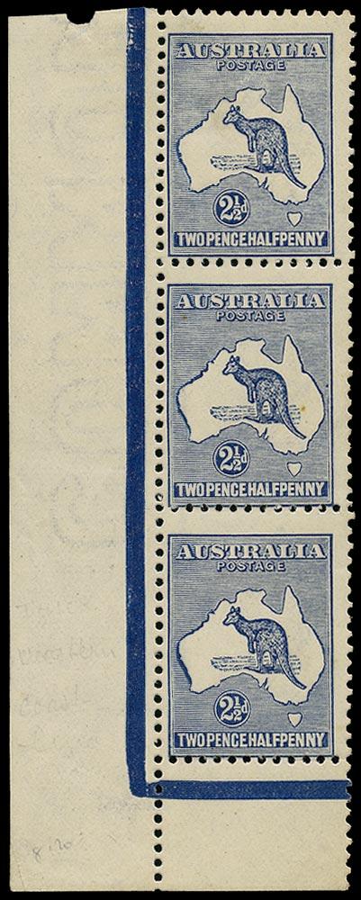 AUSTRALIA 1915  SG36 var Mint 2½d deep blue Kangaroo and Map wmk 6 variety Very heavy coastline to Western Australia, Retouch A to Australia
