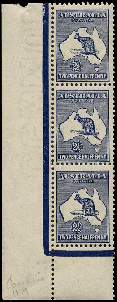 AUSTRALIA 1915  SG36b var Mint unmounted 2½d deep indigo Kangaroo and Map wmk 6 variety Very heavy coastline to Western Australia, Retouch A to Australia