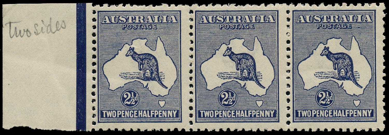 AUSTRALIA 1915  SG36b var Mint unmounted 2½d deep indigo Kangaroo and Map wmk 6 with offset on gum