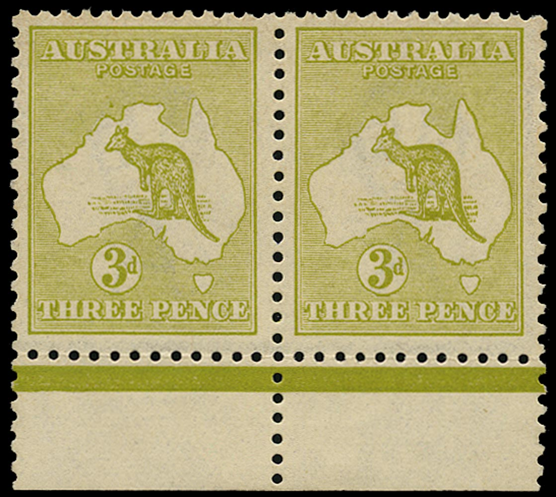 AUSTRALIA 1915  SG37a Mint unmounted 3d yellow-olive Kangaroo and Map wmk 6 die I and II se-tenant