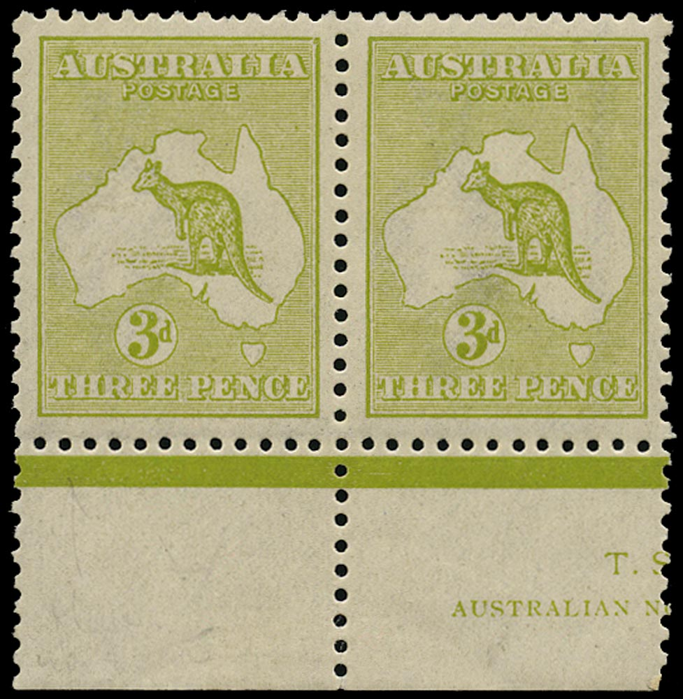 AUSTRALIA 1915  SG37cw Mint unmounted 3d olive-green Kangaroo and Map wmk 6 inverted