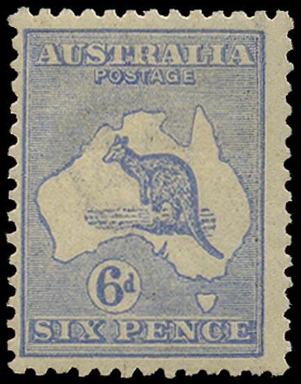 AUSTRALIA 1915  SG38da Mint 6d bright ultramarine Kangaroo and Map wmk 6 die IIB variety Leg of kangaroo broken