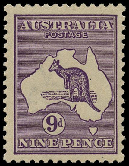 AUSTRALIA 1915  SG39bw Mint unmounted 9d violet Kangaroo and Map wmk 6 die IIB variety watermark inverted