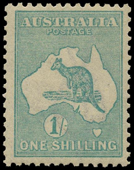 AUSTRALIA 1915  SG40aw Mint 1s blue-green Kangaroo and Map wmk 6 die II variety watermark inverted