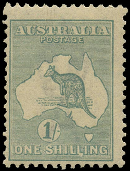 AUSTRALIA 1915  SG40b var Mint 1s blue-green Kangaroo and Map wmk 6 die IIB variety deformed LI