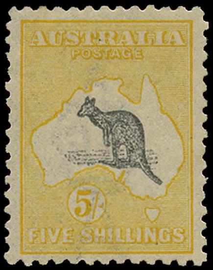 AUSTRALIA 1915  SG42c Mint 5s grey and pale yellow Kangaroo and Map wmk 6