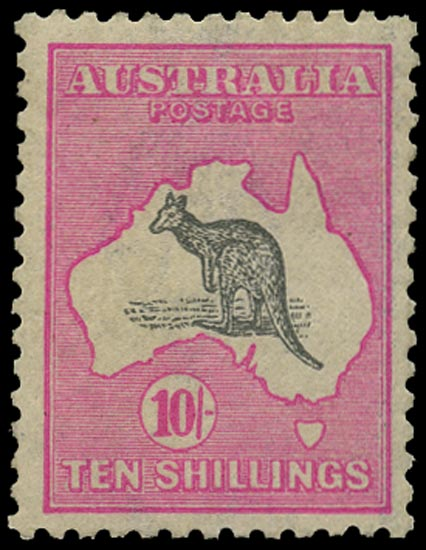 AUSTRALIA 1915  SG43aw Mint 10s grey and bright aniline pink Kangaroo and Map wmk 6 variety watermark inverted