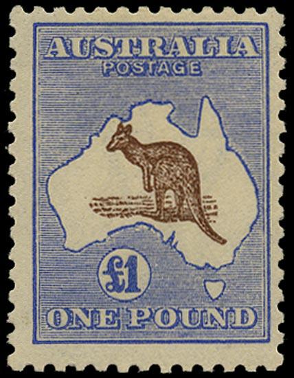 AUSTRALIA 1915  SG44 Mint £1 chocolate and dull blue Kangaroo and Map watermark 6