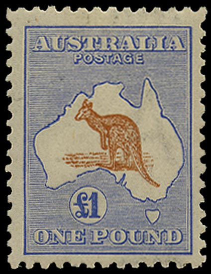 AUSTRALIA 1915  SG44a Mint £1 chestnut and bright blue Kangaroo and Map watermark 6
