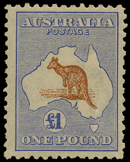 AUSTRALIA 1915  SG44aw Mint £1 chestnut and bright blue Kangaroo and Map watermark 6 variety watermark inverted