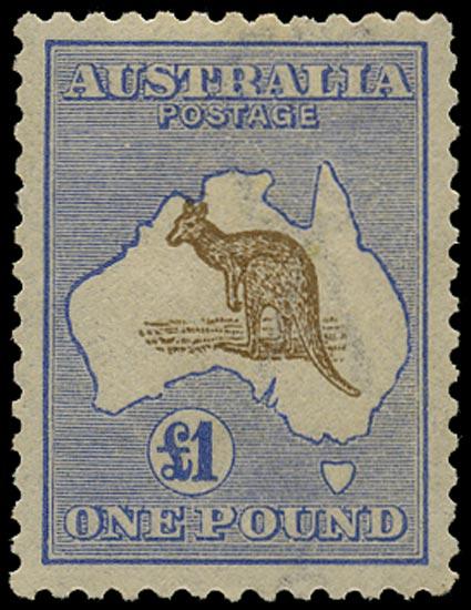 AUSTRALIA 1915  SG44b Mint £1 bistre-brown and bright blue Kangaroo and Map watermark 6