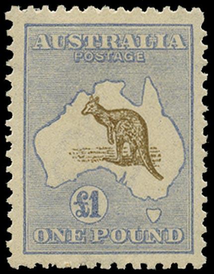AUSTRALIA 1915  SG44b var Mint £1 light brown and pale blue Kangaroo and Map watermark 6