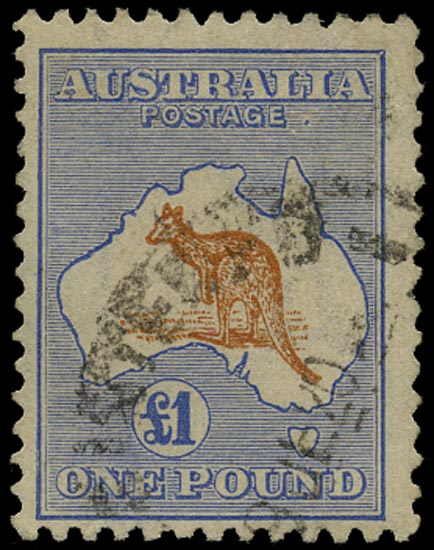 AUSTRALIA 1915  SG44a Used £1 chestnut and bright blue Kangaroo and Map watermark 6